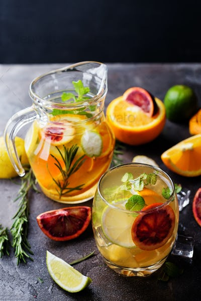 refreshing cocktail with red blood orange,