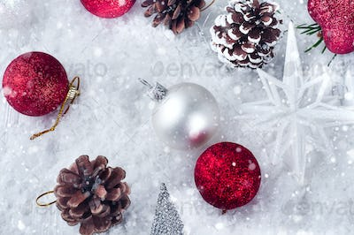 background of Christmas toys and cones