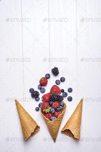 waffle with fresh berries, homemade ice cream making