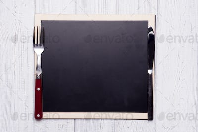 menu blackboard with knife and fork