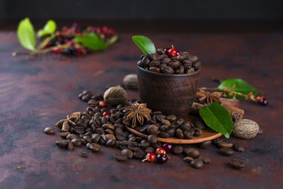 Coffee bean on black stone background