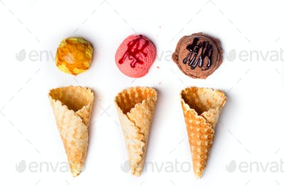 waffle cones with ice cream