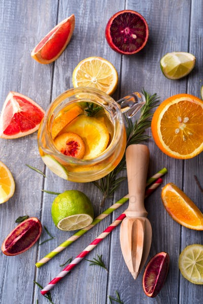 Healthy detox water with fruits