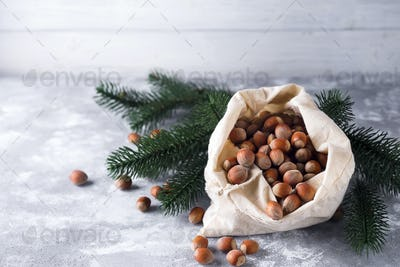 Hazelnuts in a bag
