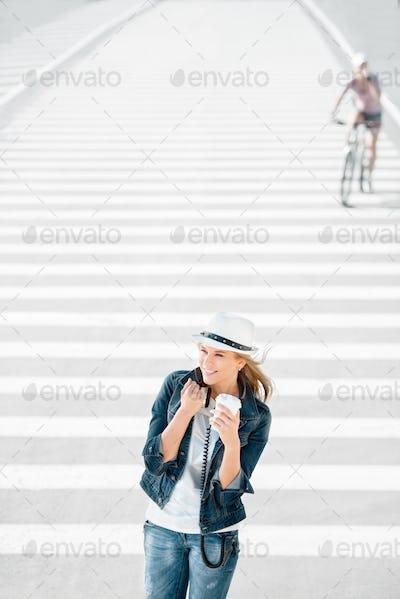 Walking on zebra cross.