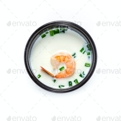 Asian soup with coco milk and shrimp