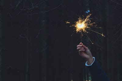 Woman holding sparkler in forest
