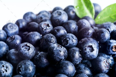 Close up of Juicy and fresh blueberries, Macro, Healthy eating