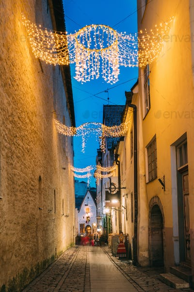 Tallinn, Estonia. View Of Raekoja Street In Christmas New Year X