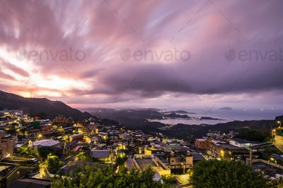 The beautiful landscape at twilight of Jiufen Old Village, Taiwan.