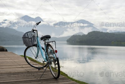 Bicycle with the beautiful view at the sun moon lake bike trail