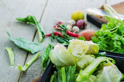Vegetables on wooden floor