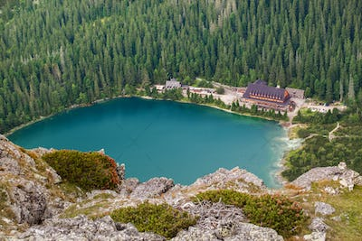 Popradske pleso lake with touristic shell house