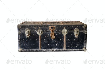 Old rusty vintage suitcase isolated