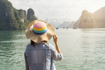 Woman traveler looking beautiful natural view