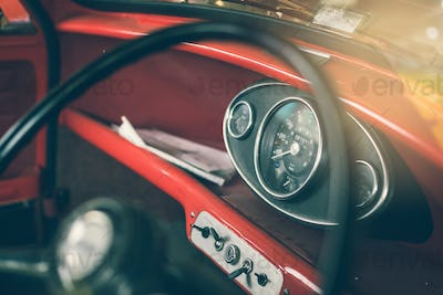 Close up on steering wheel, Classic car interior