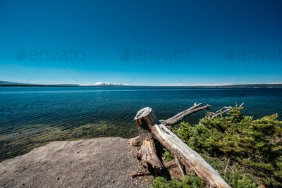 Yellowstone Lake with mountains landscape