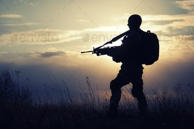 Silhouette of US marine