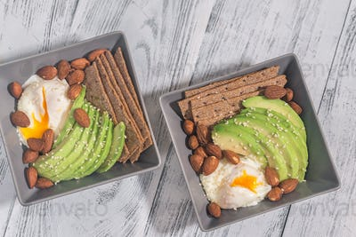Protein breakfast with poached egg, avocado and almonds