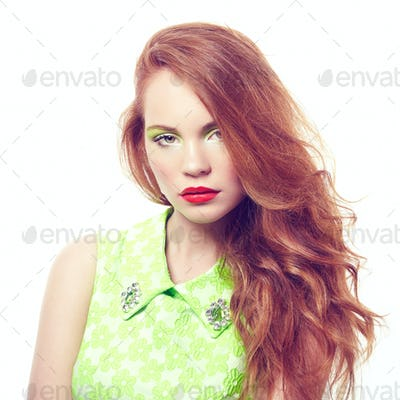 Portrait young beautiful woman on white background