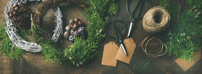 Preparing for Christmas, New Year. Flat-lay of holiday decorations
