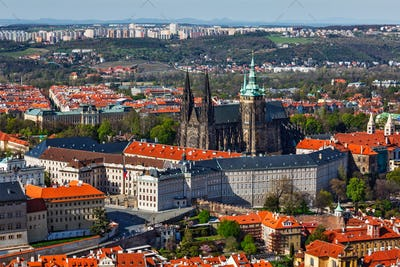 Aerial view of Hradchany: the Saint Vitus St. Vitt's Cathedral