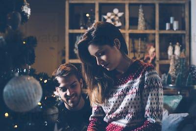 Loving couple preparing to Christmas