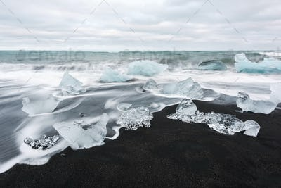 Iceberg pieces on Diamond beach