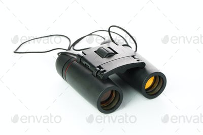 Black binoculars isolated