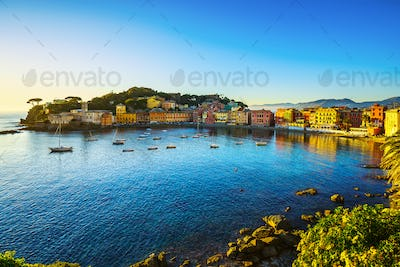 Sestri Levante, silence bay sea harbor and beach view on sunset.