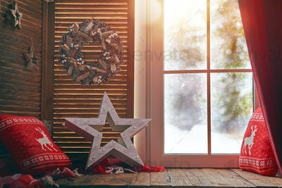 window decorated for holidays