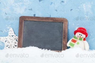 Christmas chalkboard, snowman and decor