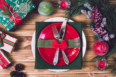 Christmas table setting with christmas decorations,. Top view, copyspace.