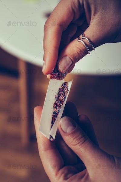 confetti in tobacco paper like a sigarette