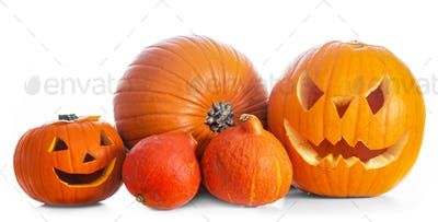 Halloween pumpkins, jack-o-lantern isolated on white