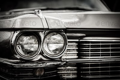 Close up detail of restored classic American car.