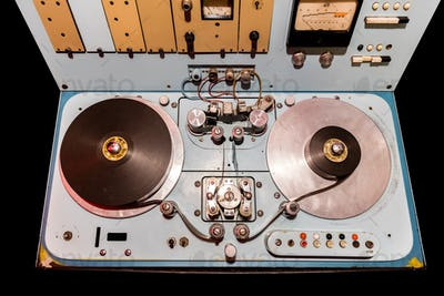 Vintage deck with switches and old reels