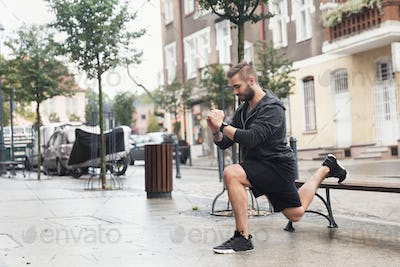 A man working out on a street