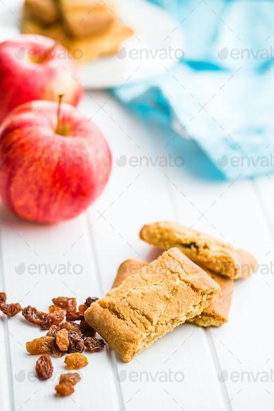 Sweet apple cookies and raisins.