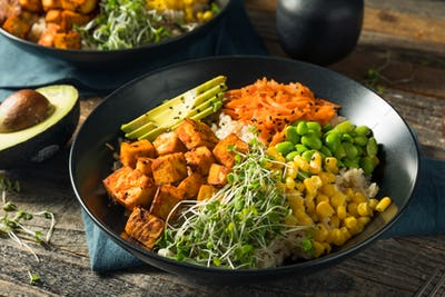 Healthy Organic Tofu and Rice Buddha Bowl
