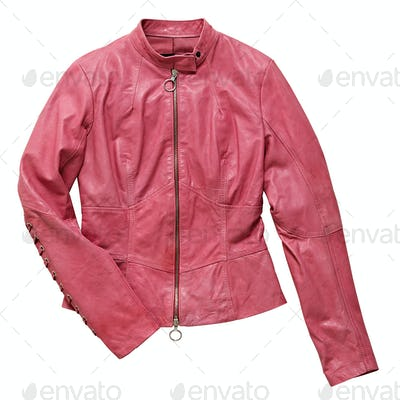 Tailored pink leather female jacket on white