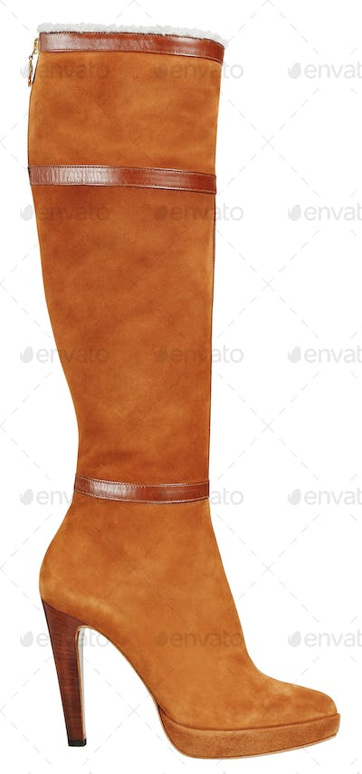 Orange suede leather boot with stiletto heal