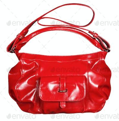 Bright red shiny patent leather handbag