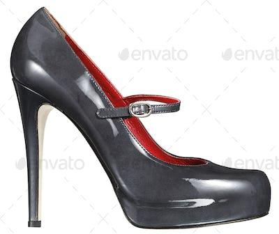 Grey stiletto patent leather shoe on white