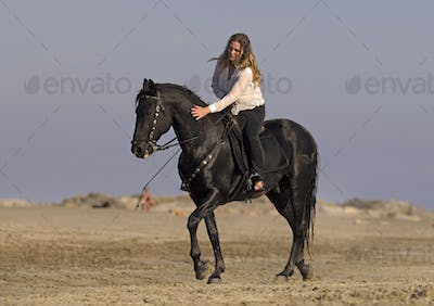 horsewoman on the beach