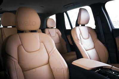 Luxury car inside. Interior of prestige modern car.