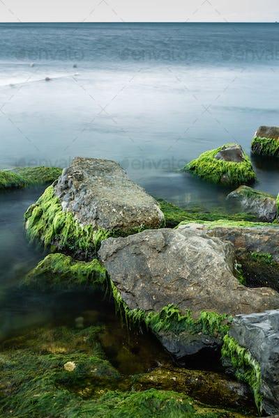 Long exposure of sea and rocks