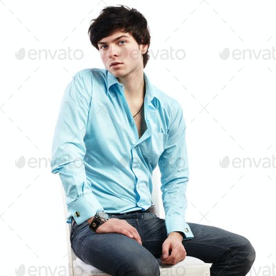 Closeup portrait of a handsome young man