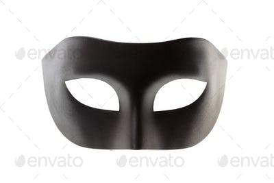 Black carnival mask isolated on white background