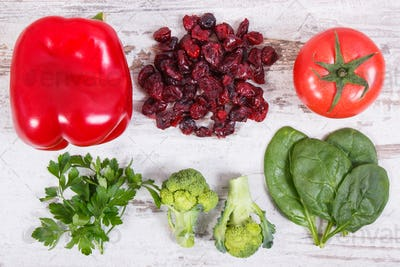 Fruits and vegetables as sources vitamin C, dietary fiber and minerals